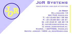 Jor systems visit card front